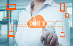 Protect cloud information data concept. Security and safety of cloud data Royalty Free Stock Image