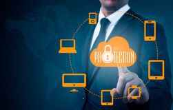 Protect cloud information data concept. Security and safety of cloud data Royalty Free Stock Images