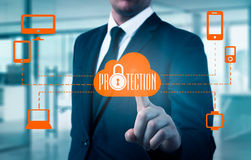 Protect cloud information data concept. Security and safety of cloud data.  Royalty Free Stock Photos
