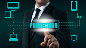 Protect cloud information data concept. Security and safety of cloud data.  royalty free stock image