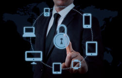 Protect cloud information data concept. Security and safety of cloud data.  Stock Images