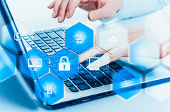 Protect cloud information data concept. Security and safety of cloud data.  Stock Photos
