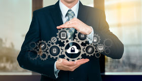 Protect cloud information data concept. Security and safety of cloud data.  Stock Photography