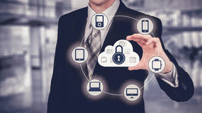Protect cloud information data concept. Security and safety of cloud data. Royalty Free Stock Photography
