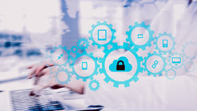Protect cloud information data concept. Security and safety of cloud data Stock Photos