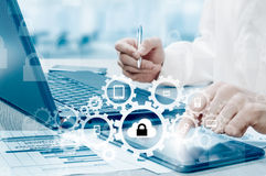 Protect cloud information data concept. Security and safety of cloud data Royalty Free Stock Photos