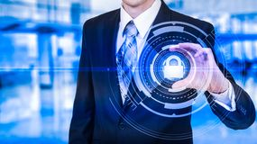 Protect cloud information data concept. Security and safety of cloud data.  Royalty Free Stock Images