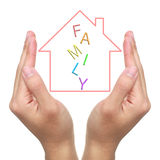 Protect Dream House. Two hands and dream house with FAMILY on white background stock image