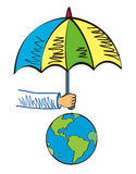 Protect the Earth. An umbrella to protect the global environment Stock Illustration