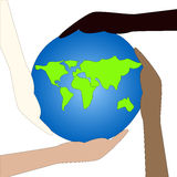 Protect the Earth. Four hands holding the world Stock Photography