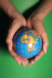 Protect the earth. A globe in the palm Royalty Free Stock Images