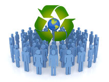 Protect the Earth. Conceptual recycling symbol made from earth globe and a small recycle symbol Stock Photography