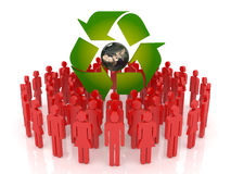 Protect the Earth. Conceptual recycling symbol made from earth globe and a small recycle symbol Stock Image