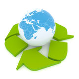 Protect the Earth. Conceptual recycling symbol made from earth globe and a small recycle symbol Royalty Free Stock Image