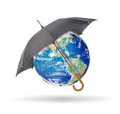 Protect earth. Black umbrella protect earth,isolated on white Vector Illustration
