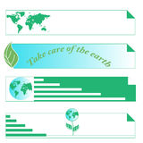 Protect the environment and the earth. Earth and green leaves on a white background. Green Planet. 4 Banners for the Stock Photos