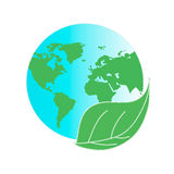 Protect the environment and the earth. Earth and green leaves on a white background. Green Planet. Stock Photography
