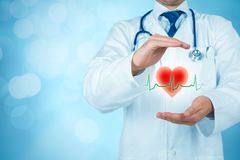 Protect health and healthcare. Protect health healthcare and heart problems prevention cardiology concept. Cardiologist or general practitioner doctor with Stock Image