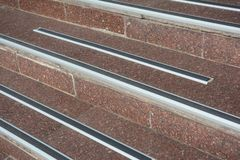 Protect from Ice Cover Slippery Stair Case and to Prevent Accidental. How to Avoid Danger Frozen Steps. Cap. Protect from Ice Cover Slippery Stair Case and to stock images
