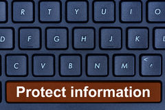 Protect information words on computer keyboard button. Closeup Stock Images