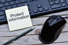 Protect information words on notes Stock Photography