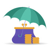 Protect and insurance money saving concept.. Protect and insurance money saving comcept. Vector flat illustration of umbrella, purse and coins. Assurance Royalty Free Stock Photography