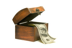 Protect money!. Hundred dollars and wooden chest. Isolated over white royalty free stock images