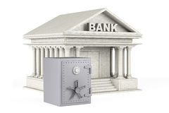 Protect Money Concept. Metal Safe and Bank Building. On a white background stock photography