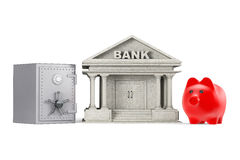 Protect Money Concept. Piggy Bank, Safe and Bank Building. On a white background stock photography