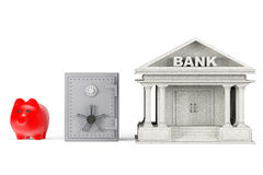 Protect Money Concept. Piggy Bank, Safe and Bank Building. On a white background royalty free stock photography