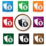 Protect money symbol,Colorful buttons. Vector Royalty Free Stock Photos
