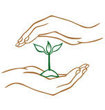 Protect our Earth. Two hands on top and below a plat protecting it stock illustration