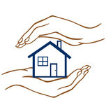 Protect our Home. Two hands on top and below a house protecting it vector illustration