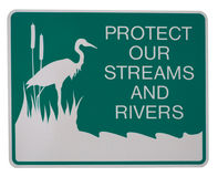 Protect our streams and rivers. Road sign isolated Stock Image