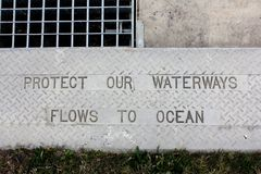 Protect Our Waterways Kerb Sign Stock Image