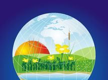 Protect the planet. Environmental concept of preserving our world with blue background Stock Images