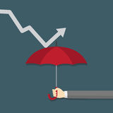 Protect The Profits From Financial Crisis Illustration,. People Hand Holding An Umbrella To Hold The Down Graph Royalty Free Stock Photos