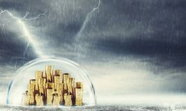 Protect savings. Concept of insurance and money protection. 3D Rendering Stock Images