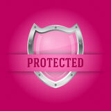 Protect silver shield on the pink background Stock Images