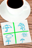 Protect umbrella on a napkin Stock Photos