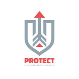 Protect - vector business logo template concept illustration. Abstract shield and arrow. Protection sign. Design element. Royalty Free Stock Images