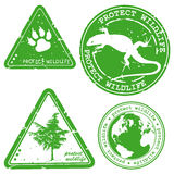 Protect wildlife written inside stamps. Green grunge rubber stamp with the text Stock Image