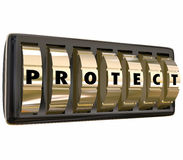 Protect Word Letters Safe Lock Dials Safety Security Stock Photo