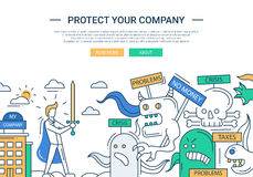Protect your company line flat design banner with superhero businessman Royalty Free Stock Photo