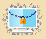 Protect your computer. The monitor hanging chain and lock Stock Photo
