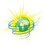 Protect your Green planet Earth. Wind and sun as sources of energy. Ecology icon concept. Design vector illustration Stock Photography