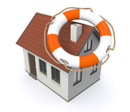 Protect your home. One lifesaver with a house, concept of protection (3d render Stock Image