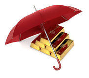 Protect your investment. One stack of gold bars with an umbrella, concept of protecting your investment (3d render Royalty Free Stock Photo