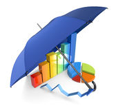 Protect your investments. Financial charts under an umbrella, concept of security and protection of investments (3d render Stock Photography