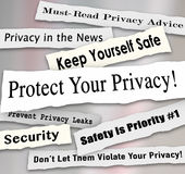 Protect Your Privacy Newspaper Headlines Important Iinformation. Protect Your Privacy newspaper headlines and other news features including must-read advice Stock Images